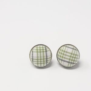 New Handmade | Upcycled Plaid Button Stud Earrings